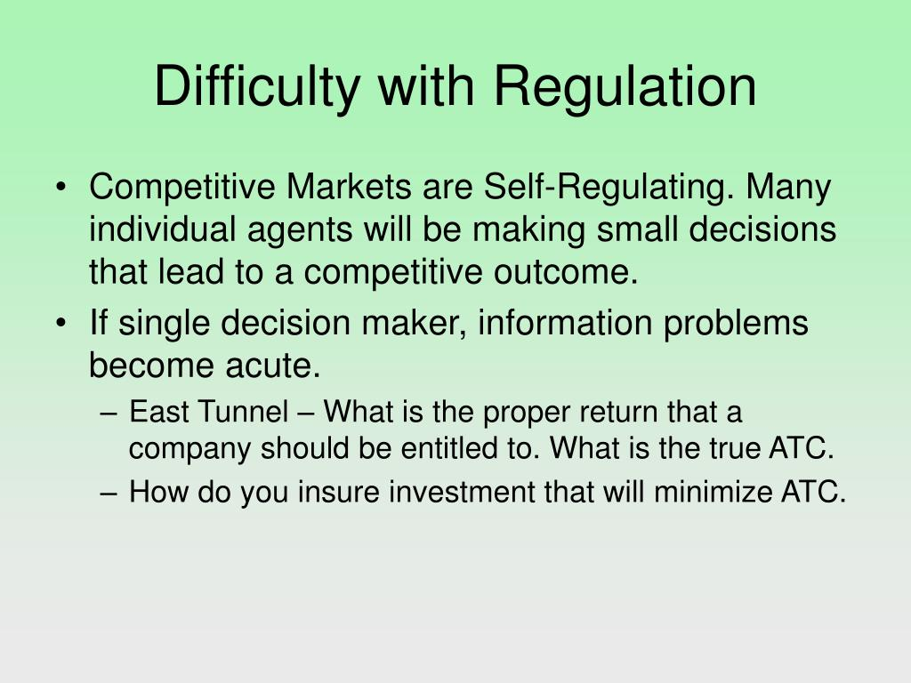 Difficulty with Regulation