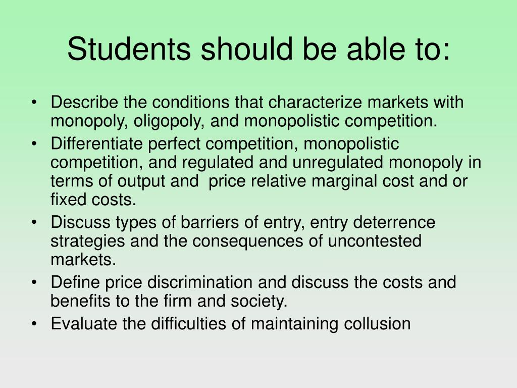 Students should be able to: