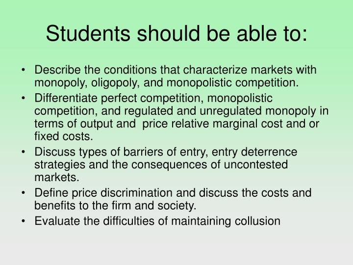 Students should be able to