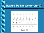 how are ip addresses reserved