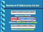 review of ip addressing format