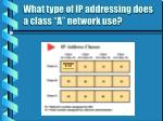 what type of ip addressing does a class a network use11