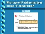 what type of ip addressing does a class b network use