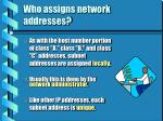 who assigns network addresses