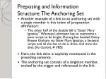 preposing and information structure the anchoring set14