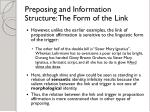 preposing and information structure the form of the link