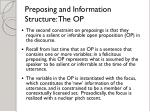 preposing and information structure the op