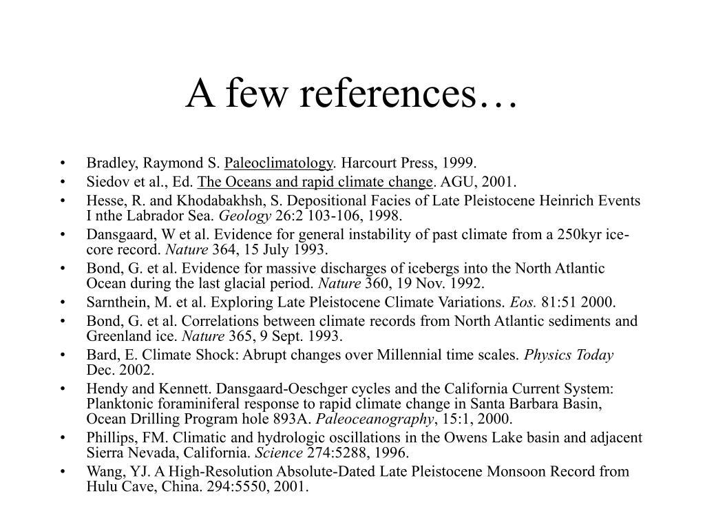 A few references…