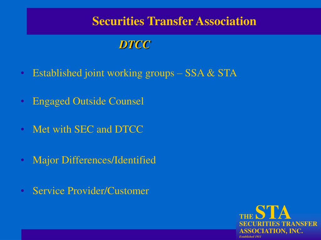 Established joint working groups – SSA & STA