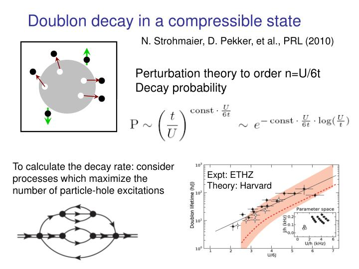 Doublon decay in a compressible state