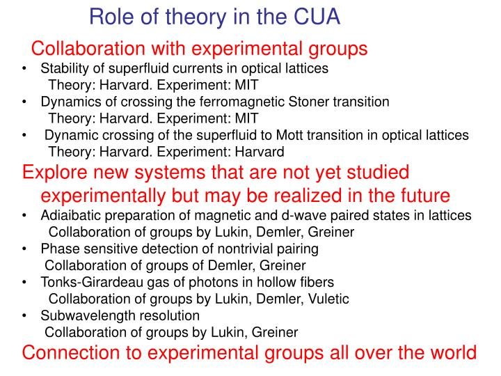 Role of theory in the CUA