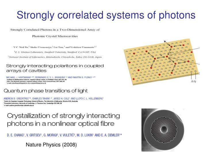 Strongly correlated systems of photons