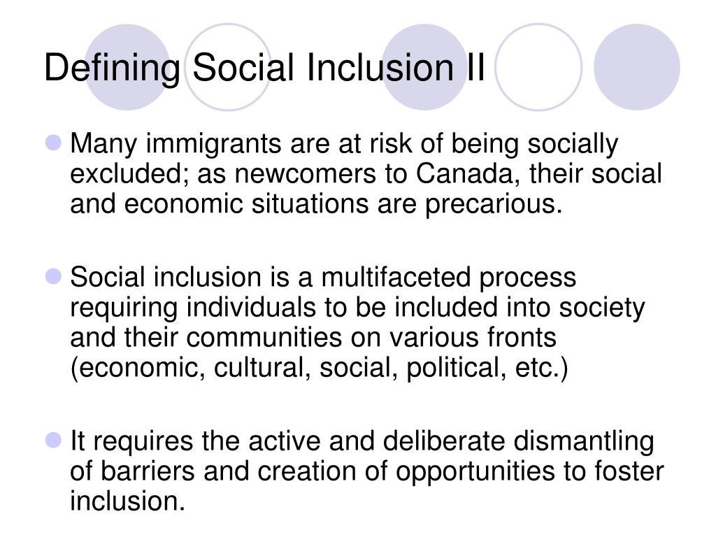 Defining Social Inclusion II