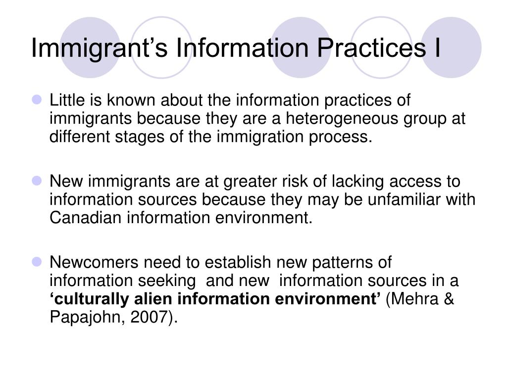 Immigrant's Information Practices I