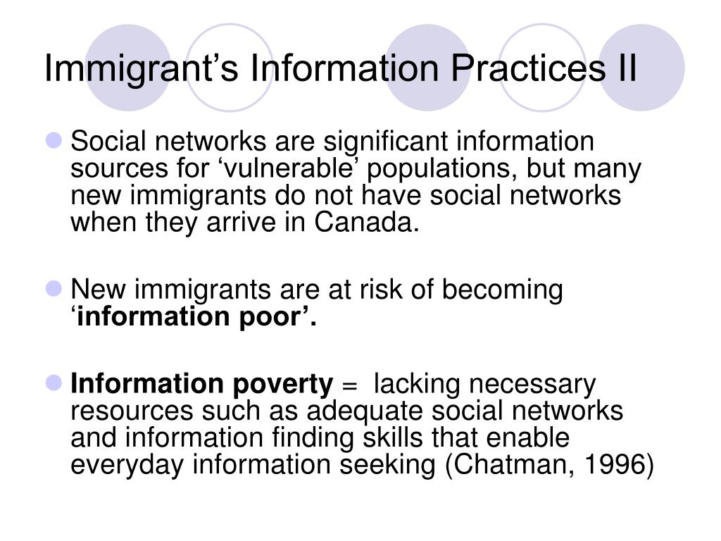 Immigrant's Information Practices II