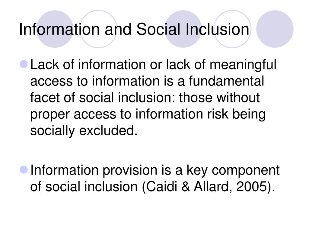 Information and Social Inclusion