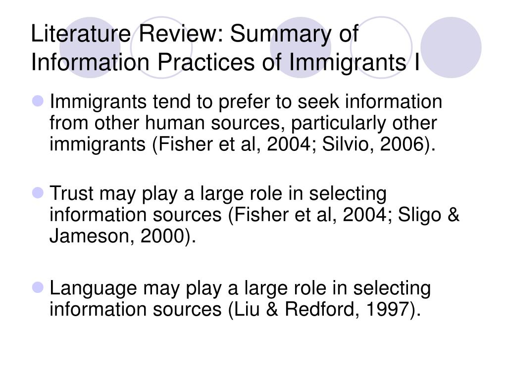 Literature Review: Summary of Information Practices of Immigrants I