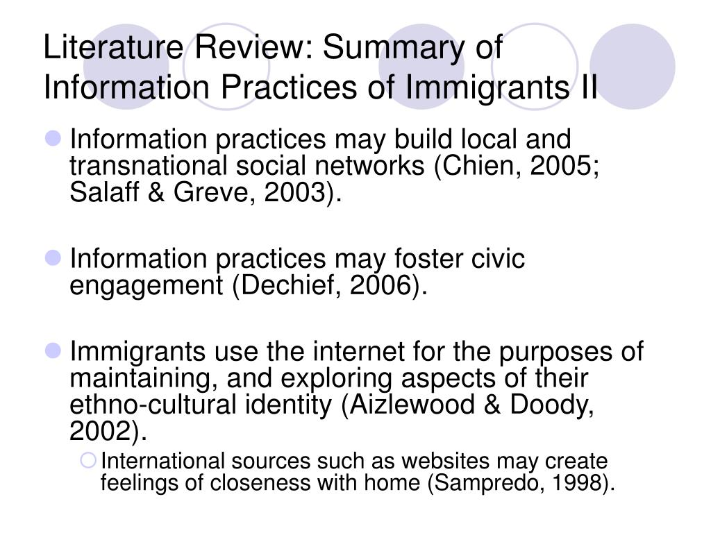 Literature Review: Summary of Information Practices of Immigrants II