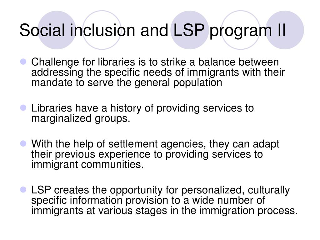 Social inclusion and LSP program II