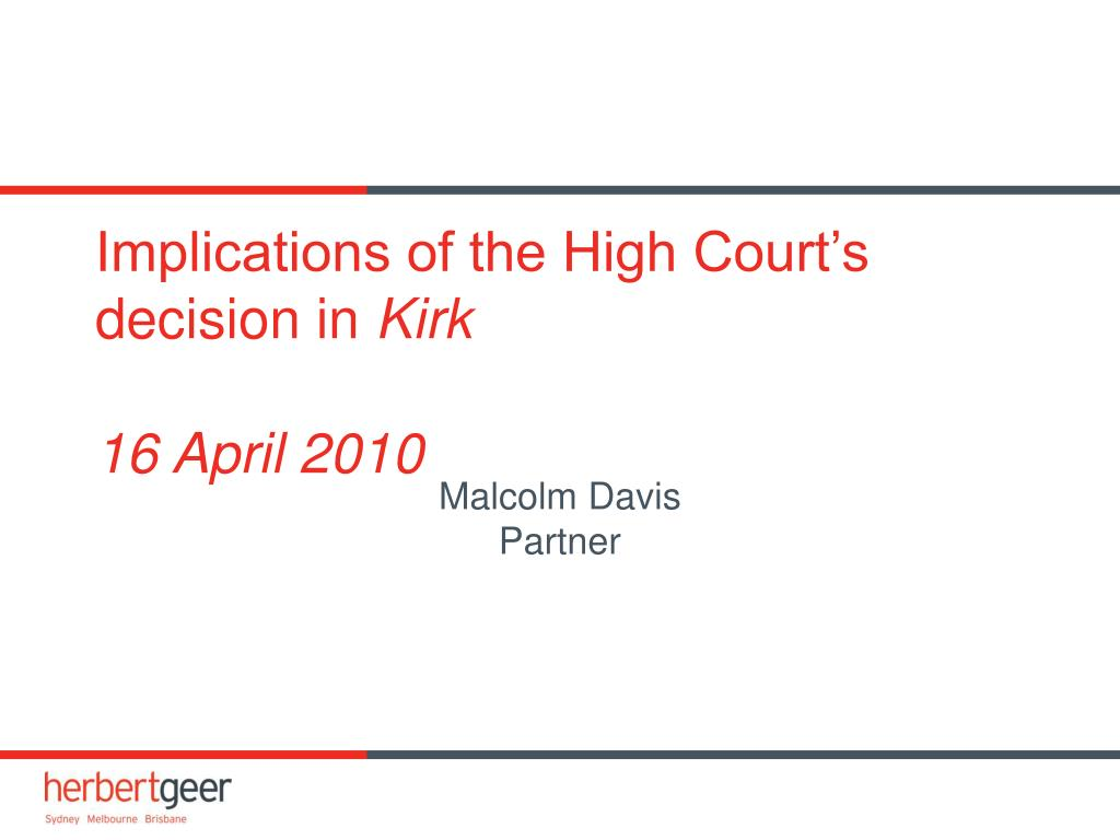 Implications of the High Court's