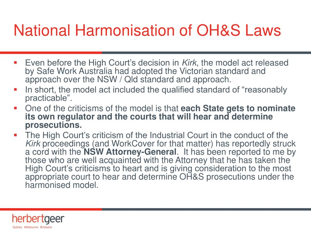National Harmonisation of OH&S Laws