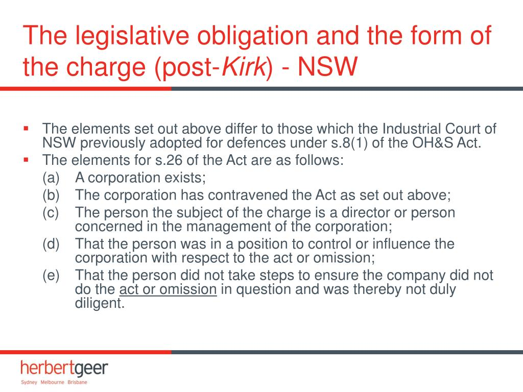The legislative obligation and the form of the charge (post-