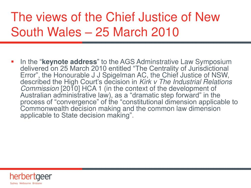 The views of the Chief Justice of New South Wales – 25 March 2010