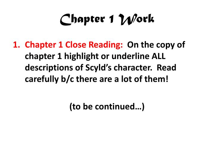 Chapter 1 work