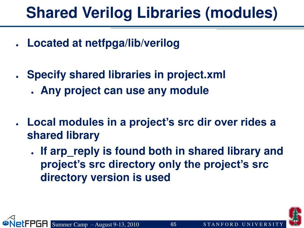 Shared Verilog Libraries (modules)