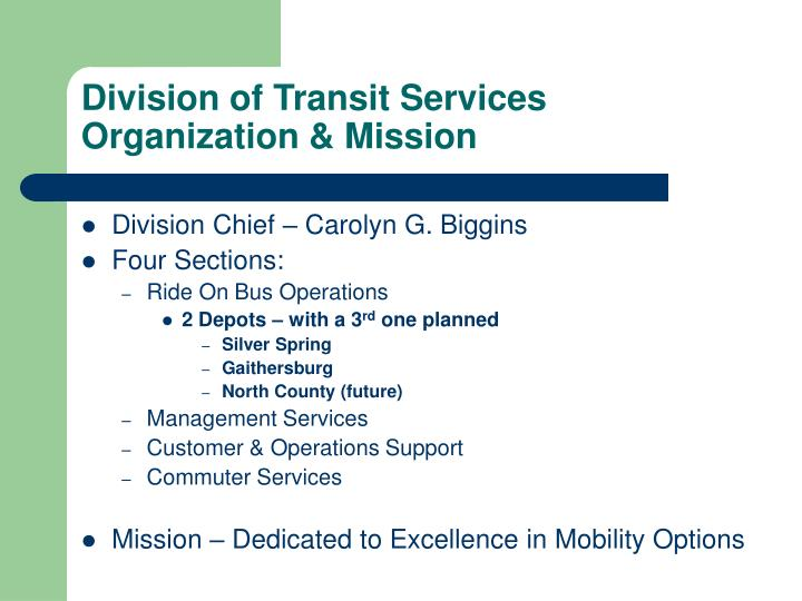 Division of transit services organization mission