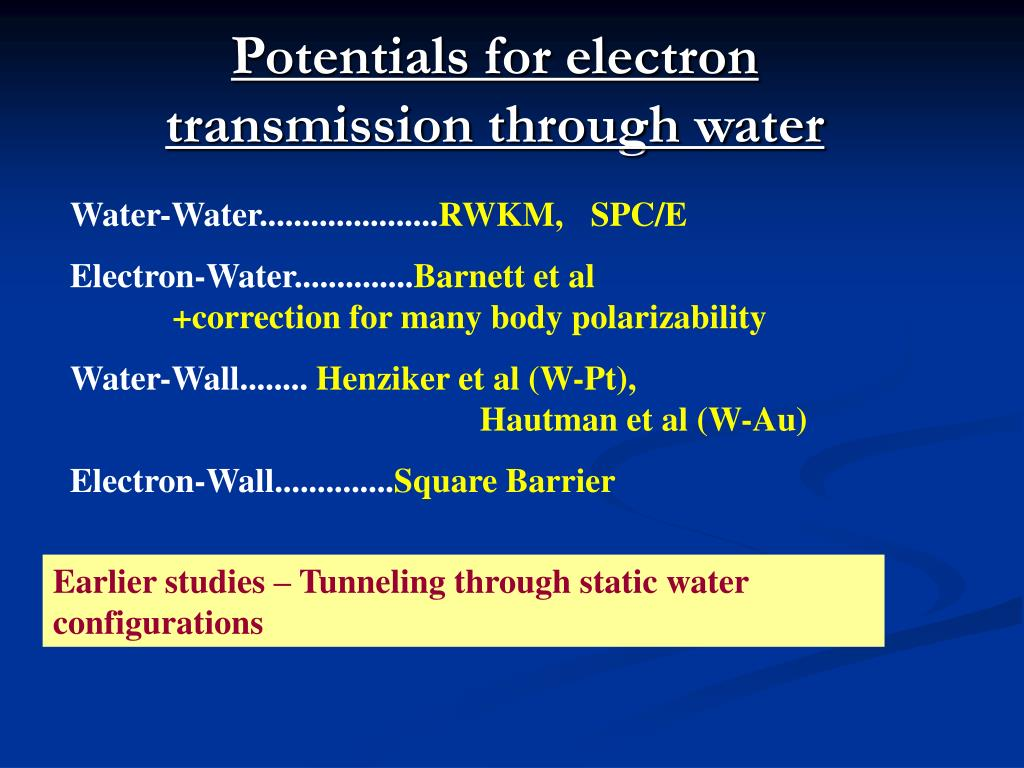 Potentials for electron transmission through water
