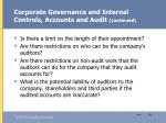 corporate governance and internal controls accounts and audit continued