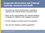 corporate governance and internal controls accounts and audit