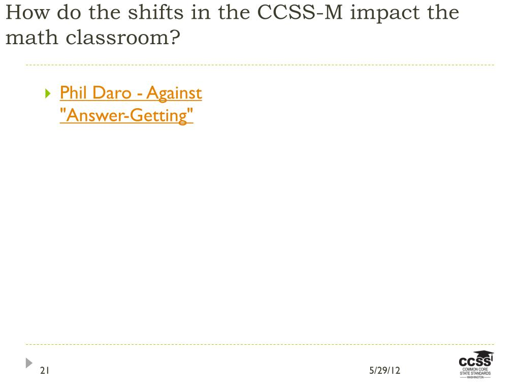 How do the shifts in the CCSS-M impact the math classroom?