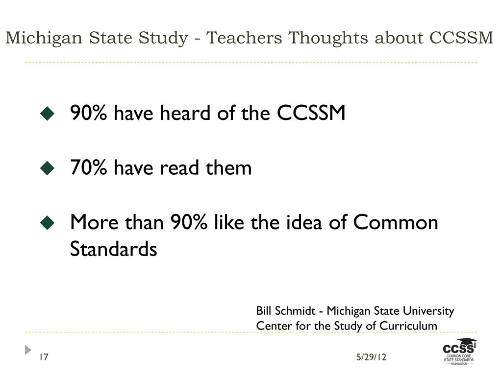 Michigan State Study - Teachers Thoughts about CCSSM