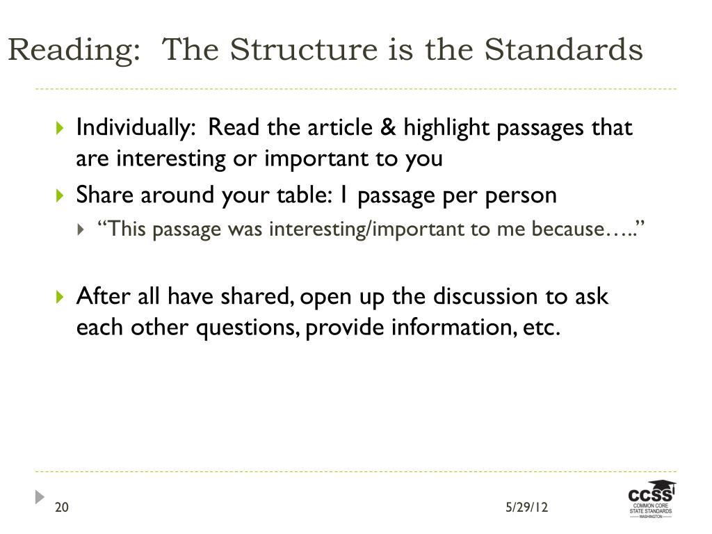 Reading:  The Structure is the Standards
