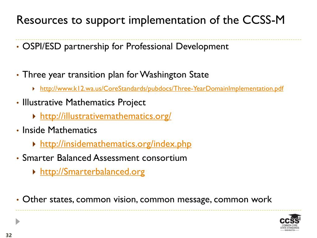 Resources to support implementation of the CCSS-M