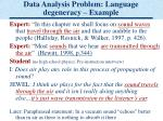 data analysis problem language degeneracy example