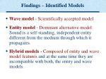 findings identified models
