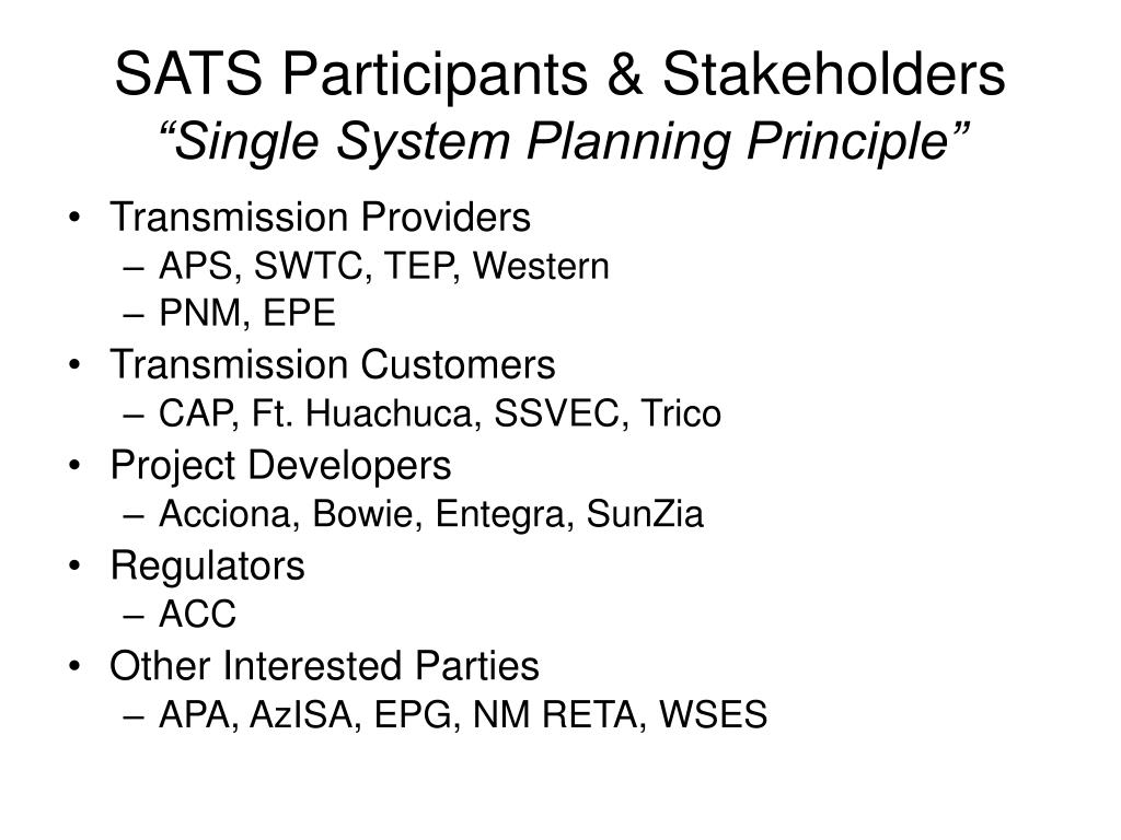 SATS Participants & Stakeholders
