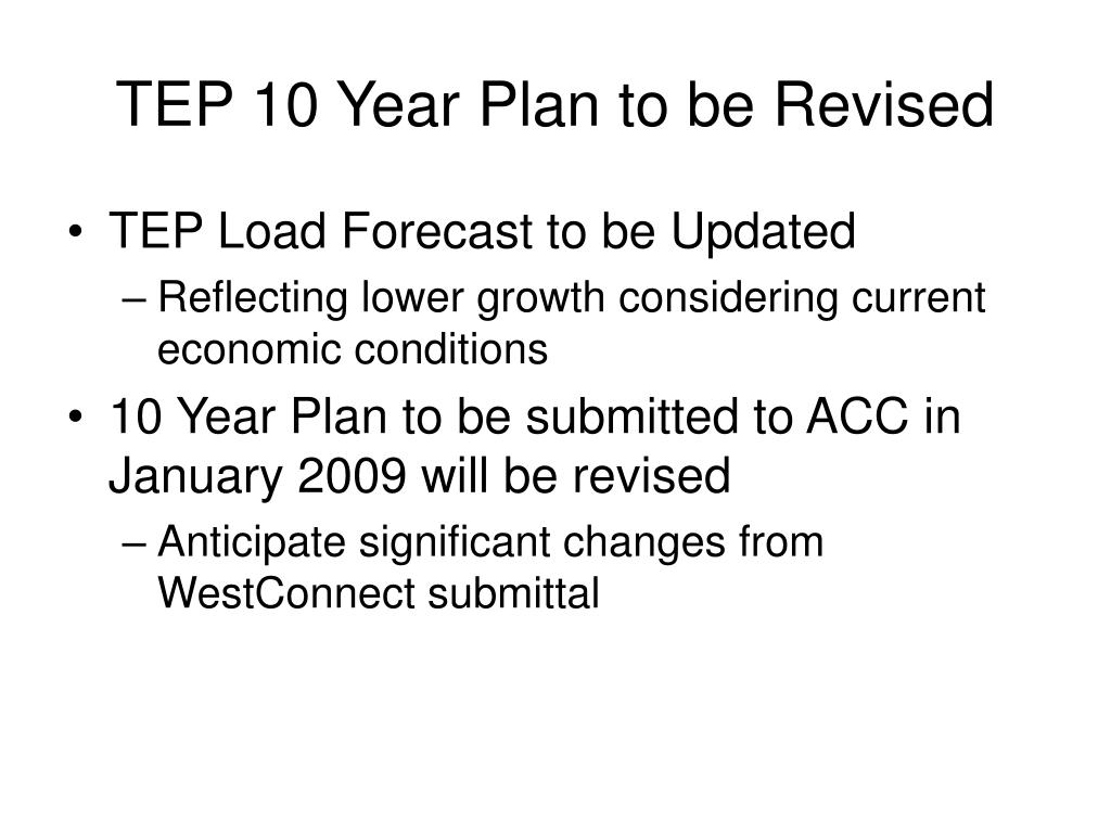 TEP 10 Year Plan to be Revised