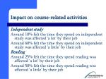 impact on course related activities