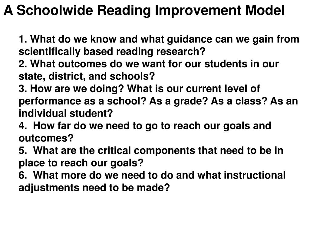 A Schoolwide Reading Improvement Model