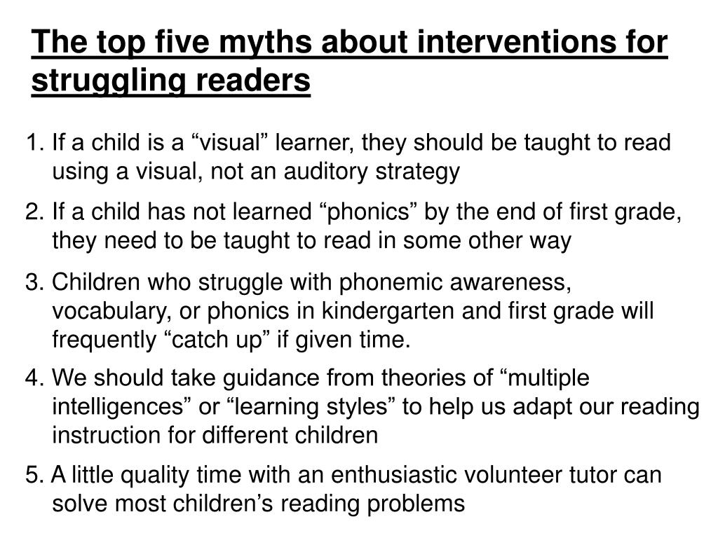 The top five myths about interventions for struggling readers