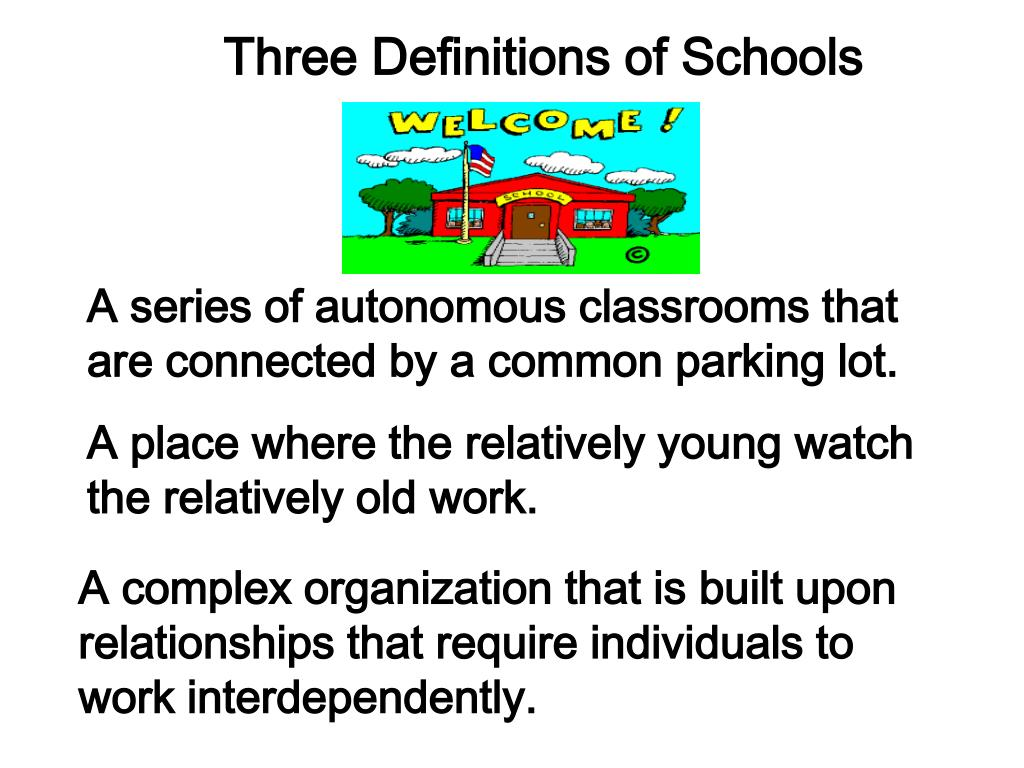 Three Definitions of Schools