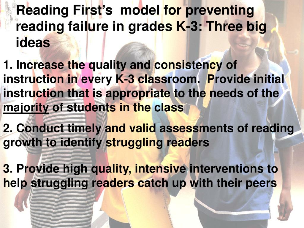 Reading First's  model for preventing reading failure in grades K-3: Three big ideas