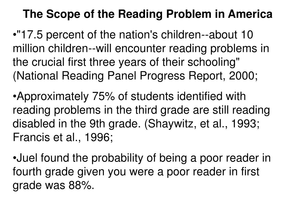 The Scope of the Reading Problem in America
