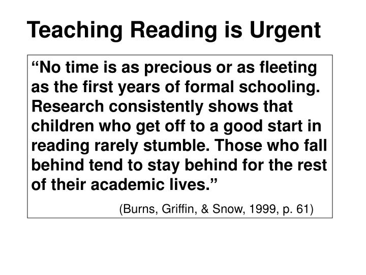 Teaching reading is urgent