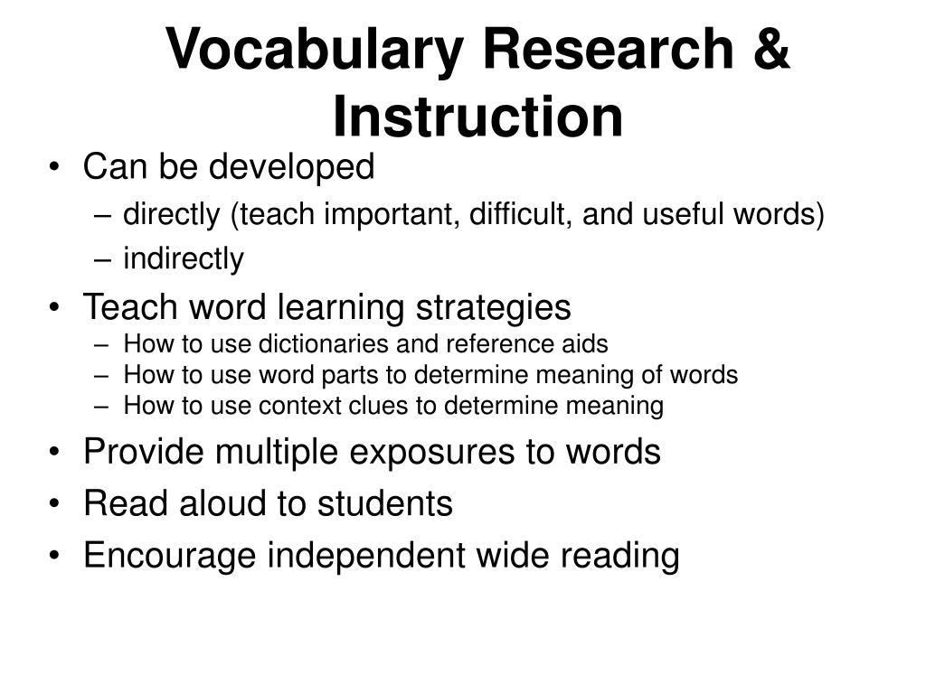 Vocabulary Research & Instruction