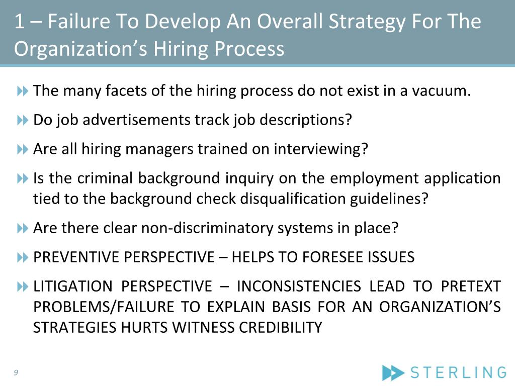 1 – Failure To Develop An Overall Strategy For The Organization's Hiring Process